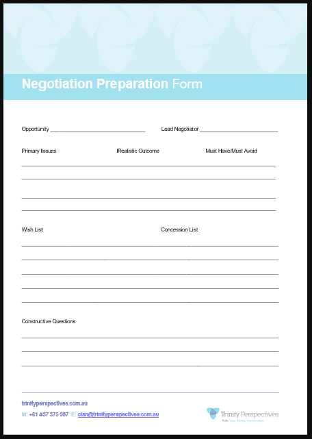 Templates & guides - Negotiation Preparation Form